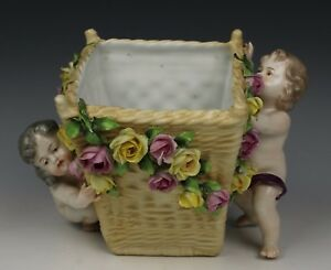 19c Dresden Volkstedt Figurine Vase Cherubs With Basket Worldwide