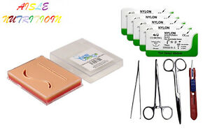 Suture Pad Practice Combo Kit 3 layer Pocket Pad Tools 5x 4 0 Nylons