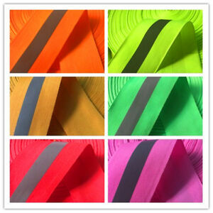 100 M Silver Reflective Tape Strip Sew on Lime Orange Fabric Safty Vest width 2