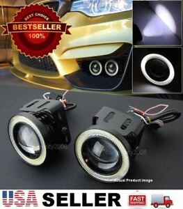 1 Pair 3 White Drl Cob Led Halo Ring Driving Projector Lens Fog Light For Dodge