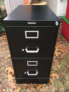 Two Drawer Filing Cabinet Full Suspension Letter Black 28 3 x18 x24 4
