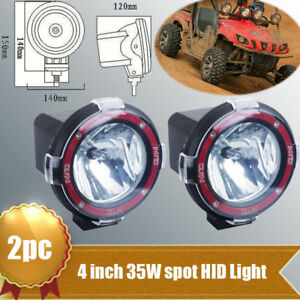 2pc 35w 12v 4 Hid Work Light 6000k H3 Bulb Spot Ute Atv Offroad Boat Fog Lamp