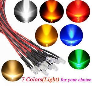 Lot Bright Led Wires 5mm 3mm 12v Lamp Bulb Light Led Pre wired Party Home Decor