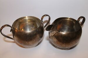 392 And 393 Gorham Sterling Silver Sugar Bowl Creamer Beautiful Patina