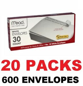 Mead Self adhesive Press n seal All purpose Home Office 10 Envelopes 600 Count