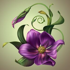 Purple Lily Flower Decal Sticker Laptop Vehicle Car Truck Window Wall