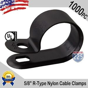 1000 Pcs Pack 5 8 Inch R type Cable Clamps Nylon Black Hose Wire Electrical Uv