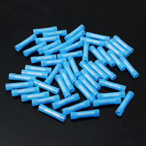 100 Pcs Pack 16 14 Awg Ga Wire Blue Nylon Butt Connectors Crimp Terminals Alarm