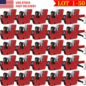 Mx 5500 8 Digits Price Tag Gun 200 White W Red Lines Labels 1 Ink Label Lot