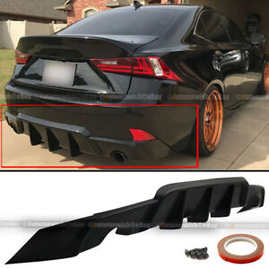 For 14 16 Is200t Is250 Is350 W Wd Style Pu Rear Bumper Diffuser Lip Shark Fin