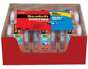 Scotch Heavy Duty Shipping Packing Tape Clear Rolls Dispenser Hold Moving Box Us