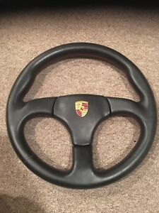 Porsche 911 930 Club Sport Steering Wheel Black Leather With Red Stitches