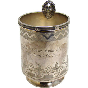 Sterling Silver Mug With Robert Lenox Banks Erastus Corning Inscription 1864