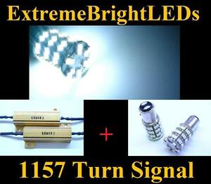 Two Hid White 1157 2357 60 smd Led Turn Signal Lights 2 Load Resistors