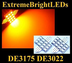 Two Amber De3175 De3022 Map Dome 12 smd Led Lights 24b