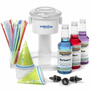 Snow Cone Machine Stand Set Syrup Party Package Cups Spoon Straws Bottle Pourers