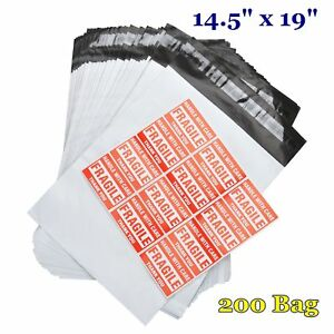 200 14 5x19 Poly Mailers Envelope Self Sealing Plastic Shipping Bags 2 5 Mil New