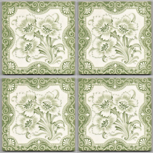 Graygreen Floral Aesthetic Style Reclaimed Antique Tile Setx4 Victorian Original