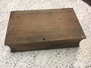 Rare Antique Book Box Maine Ca 1840 Hold A Bible Soft Wood Orig Nails Canvas
