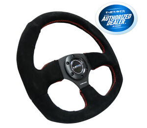 Nrg Race Style Steering Wheel Black Suede With Red Stitch 320mm Rst 009s rs