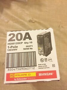 New Box Of 10 Square D Homeline Hom120 Cp 20a Circuit Breaker Hom120 Best Price