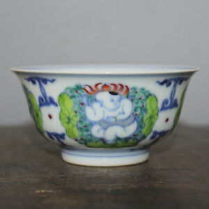 Chinese Old Marked Doucai Colored Kids And Flowers Pattern Porcelain Bowl