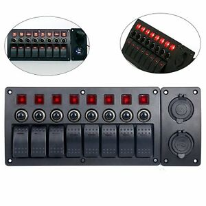 8 Gang Red Led Indicators Rocker circuit Breaker Waterproof Boat Switch Panel Us
