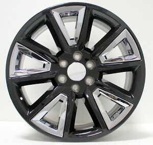 Gmc 20 Black With Chrome Insert Wheels Rims 2000 2018 Sierra Yukon Denali Z71