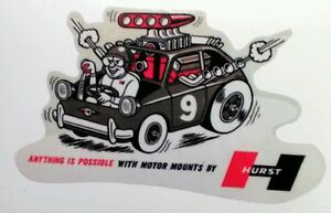 Hurst Motor Mounts Sticker Decal Hot Rod Rat Vintage Look Car Truck Bike
