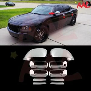 Aal For Dodge Charger 2006 07 08 09 2010 Chrome Full Mirror 4 Door Handle Cover