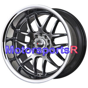 Xxr 526 18 Chromium Black Deep Dish Lip Staggered Rims 5x114 3 Wheels Hellaflush