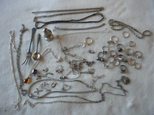 Sterling Silver 239 2 Grams Jewelry All 925 Scrap And Usable Jewelry 48pc T 3