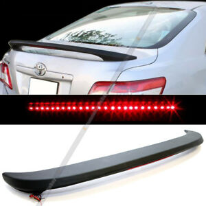 Fit 07 11 Camry Jdm Style Rear Trunk Wing Spoiler W Red Led 3rd Brake Light