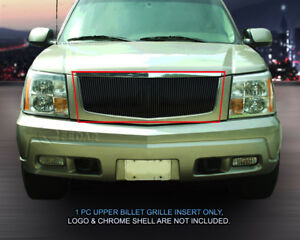 Black Billet Grille Front Vertical Grill For 2002 2006 Cadillac Escalade