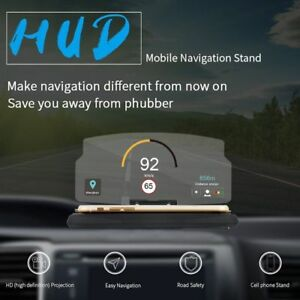 New Portable Car Hud Head Up Display Speed Warning Gps Navigation Stand Non Slip