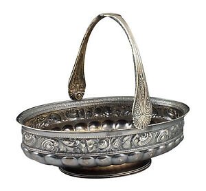 Heavy Gorham Sterling Silver Handled Basket W Repousse Flowers
