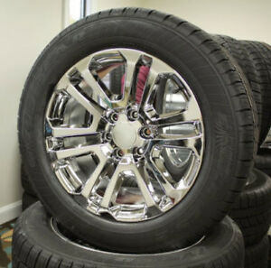 Chevy Silverado Tahoe Surburban 20 Chrome Split Spoke Wheels Rim Goodyear Tires