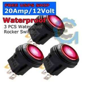 5x 12v 20a Waterproof Round On Off Rocker Switch Car Auto Boat Spst Marine Red