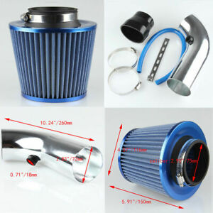 Blue 3 Universal Car Cold Air Intake Turbo Filter Induction Flow Kit Pipe Hose