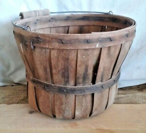 Primitive Old Fruit Vegetable Flower Basket With Handle