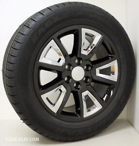 Chevy 20 Wheels Black And Chrome Rims Tires Silverado Z71 Tahoe Suburban Ltz