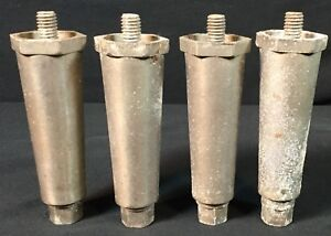 Vtg Mid Century Reclaimed Salvaged Hexagon Metal Table Leg Set Lot Of 4