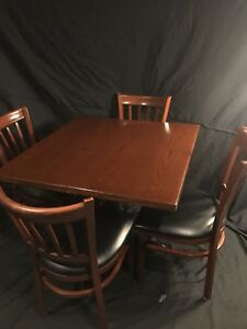 Restaurant Mahogany Table 36 x36 Set With Metal Base And 4 Chairs Bundle