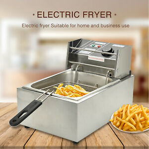 8l Commercial Electric Deep Fryer French Fry Home Bar Restaurant Tank W Basket