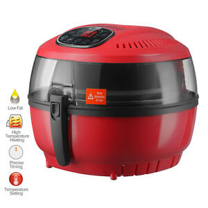 7 4qt Electric Lcd 1700w Oil Less Air Fryer Timer And Temperature Control Red