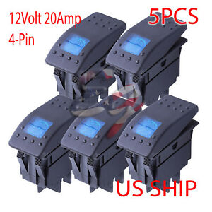 5in1 4 Pin 12v 20a Car Boat Offroad Rocker Toggle Switch Blue Led Lamp Universal