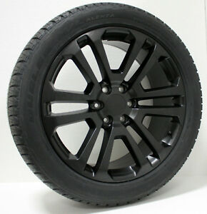 Chevy Silverado Tahoe Suburban 22 Satin Black Split Spoke Wheels Rims Tires