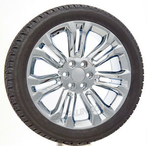 22 Chrome Split Spoke Wheels Bridgestone Tires Chevy Silverado Tahoe Suburban