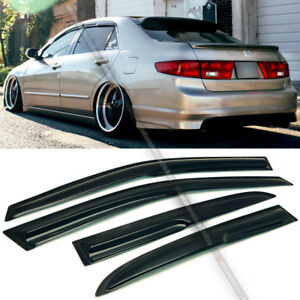 For 03 07 Accord 4dr Coupe Mugen Style 3d Wavy Black Tinted Window Visor Vent