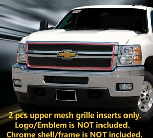 Black Front Upper Mesh Grille Grill For 2011 2012 Chevy Silverado 2500hd 3500hd